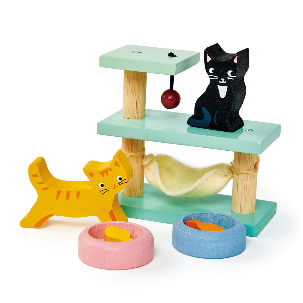 Tender Leaf wooden toys pet cat set dolls house furniture