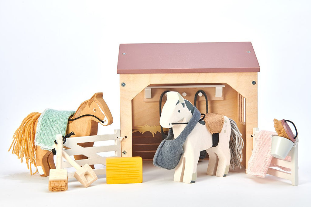 Tender Leaf Toys Wooden Dolls House Furniture Stables And Horses