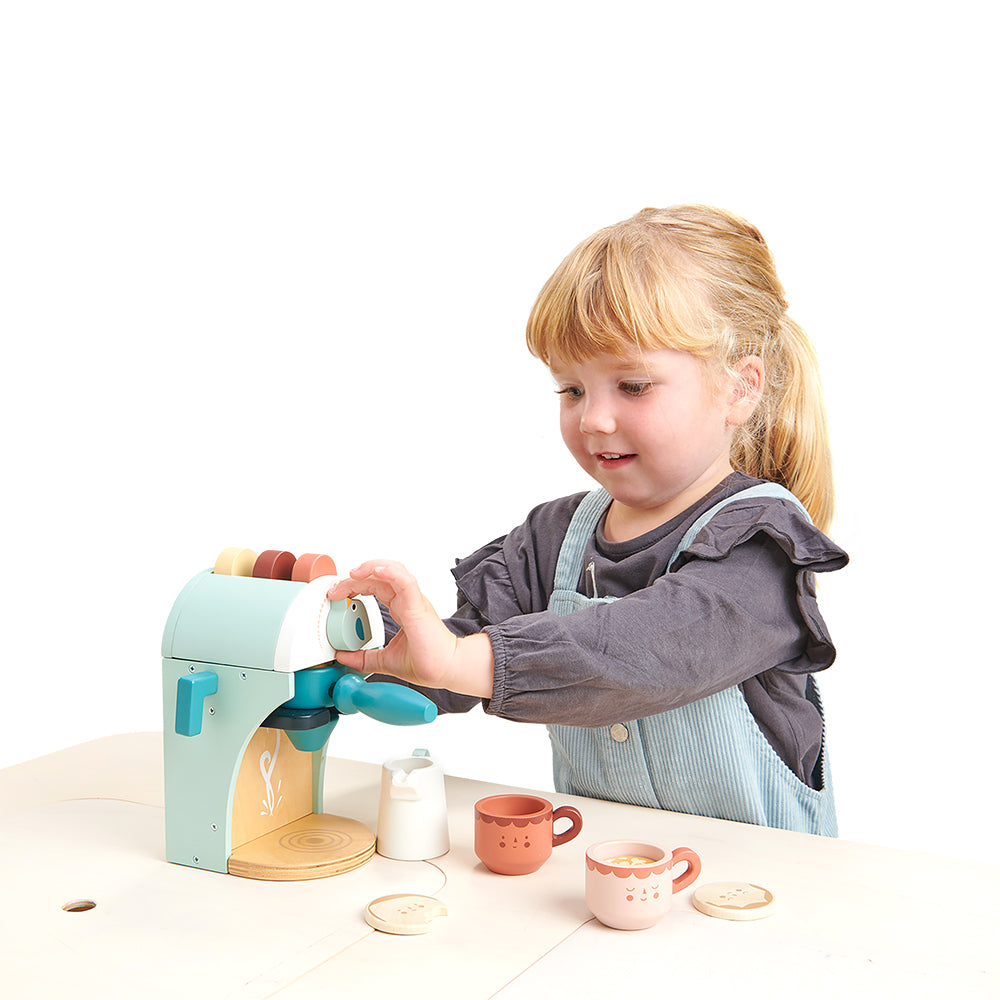 tenderleaf wooden toy plastic-free espresso pretend play set for tea time parties for children with cups saucers coffee pods milk frother