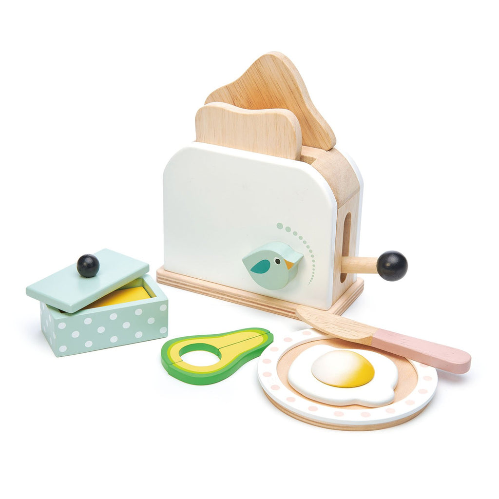 Tender Leaf wooden toys play food toaster and egg set with avocado and butter