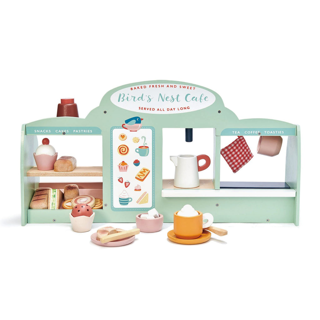 Tender Leaf wooden toys birds nest cafe with lots of colourful accessories for pretend play