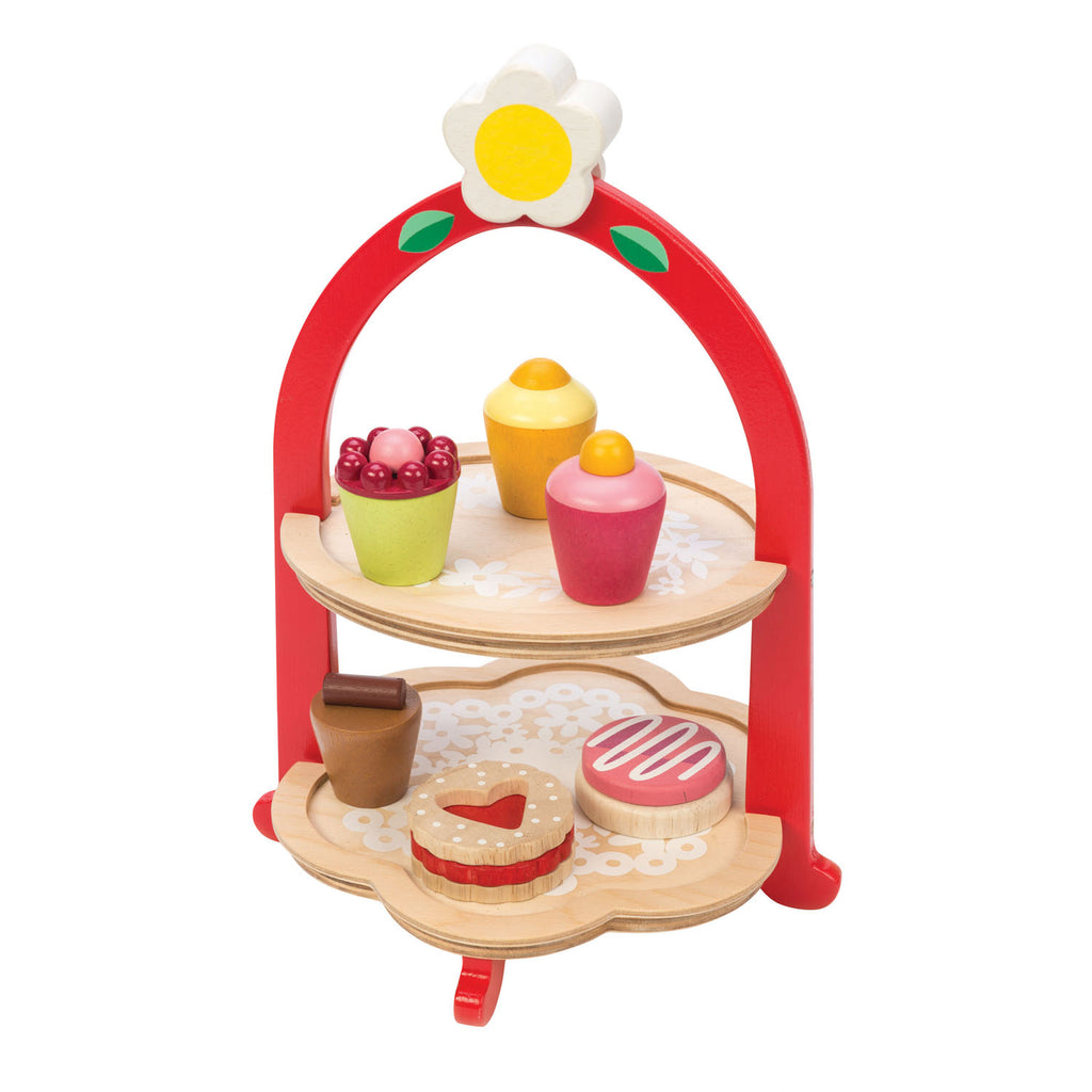 wooden toy afternoon tea and cake stand