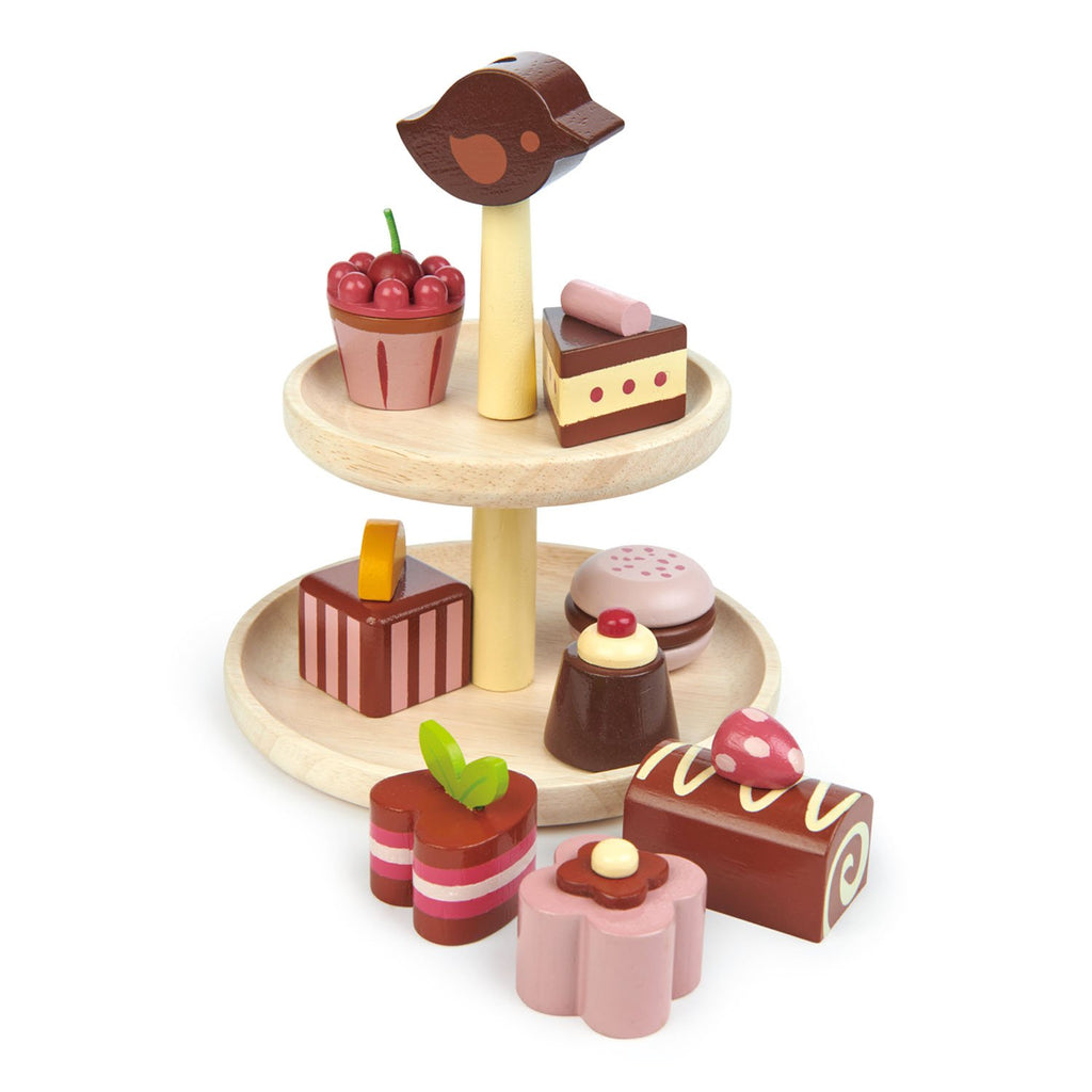 Tender Leaf wooden Toys cake stand with play food chocolates and cakes