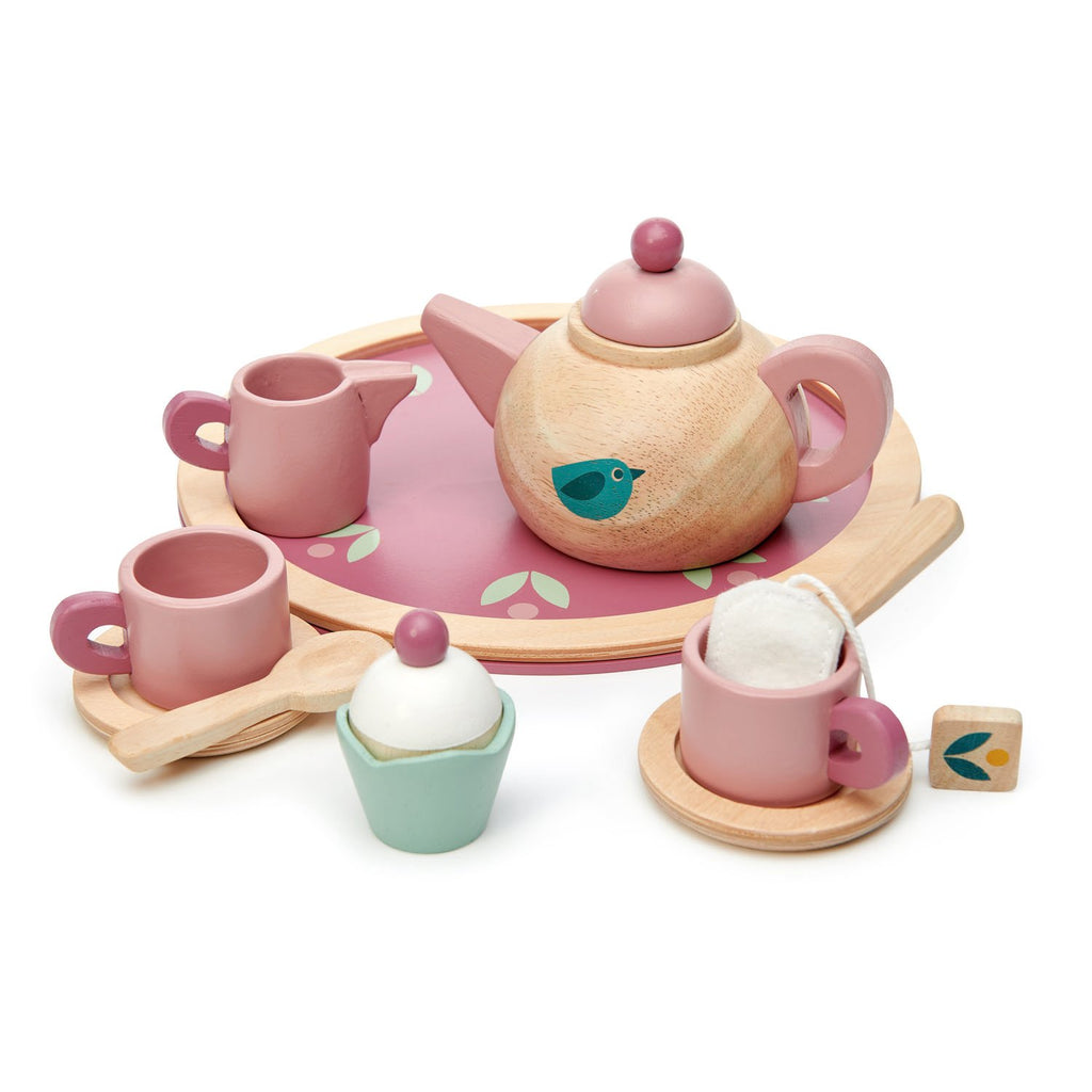 Tender Leaf pretend play toys wooden tea set with cupcake and teapot in pink