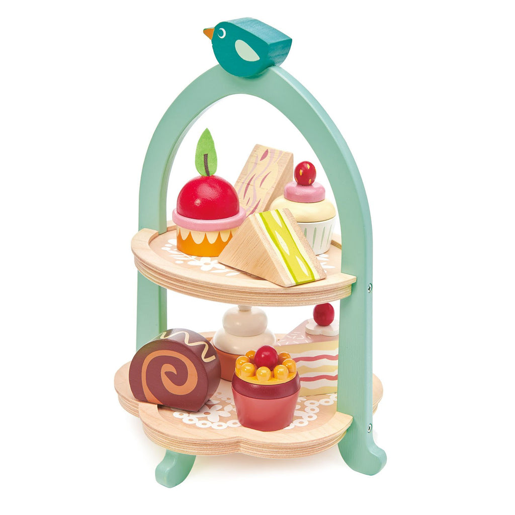 Tender Leaf wooden toys cake stand with cupcakes and sandwiches for predend play with children