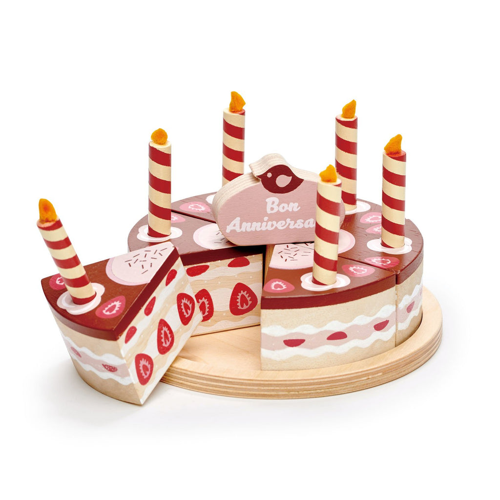Tender Leaf wooden toys play food chocolate cake with bon anniversaire motif