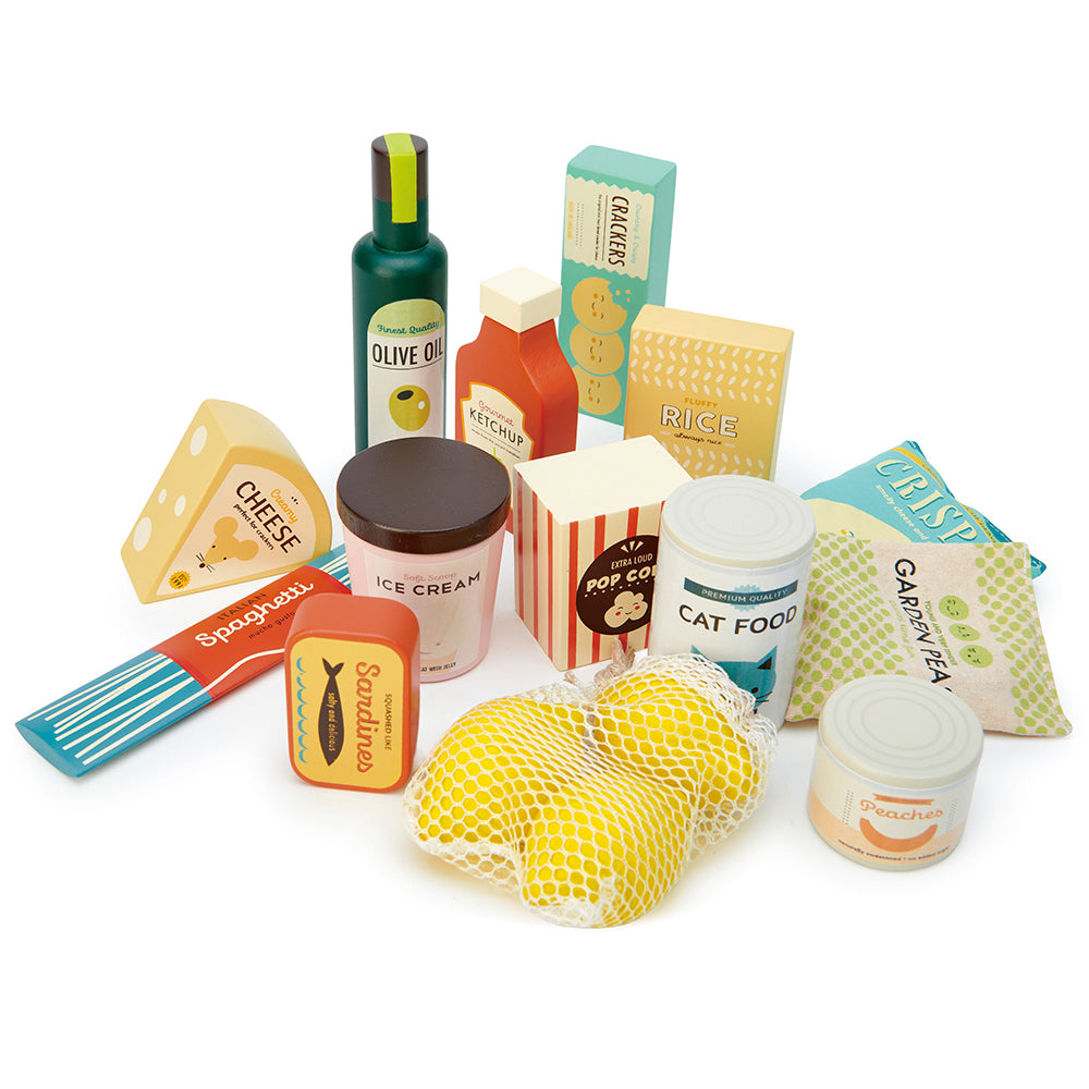Tender Leaf wooden play food set for children with olive oil ketchup crackers cheese cat food ice cream sardines spaghetti pop corn peas lemons tinned peaches and cheese