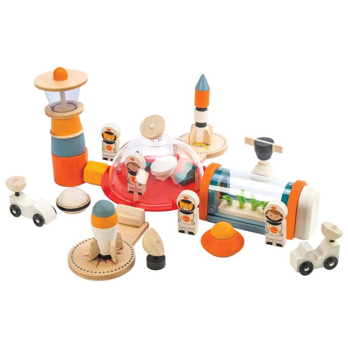 Tender Leaf Toys wooden Life on Mars play set. Your little astronauts will love this wooden realistic space station toy with lots of wooden accessories