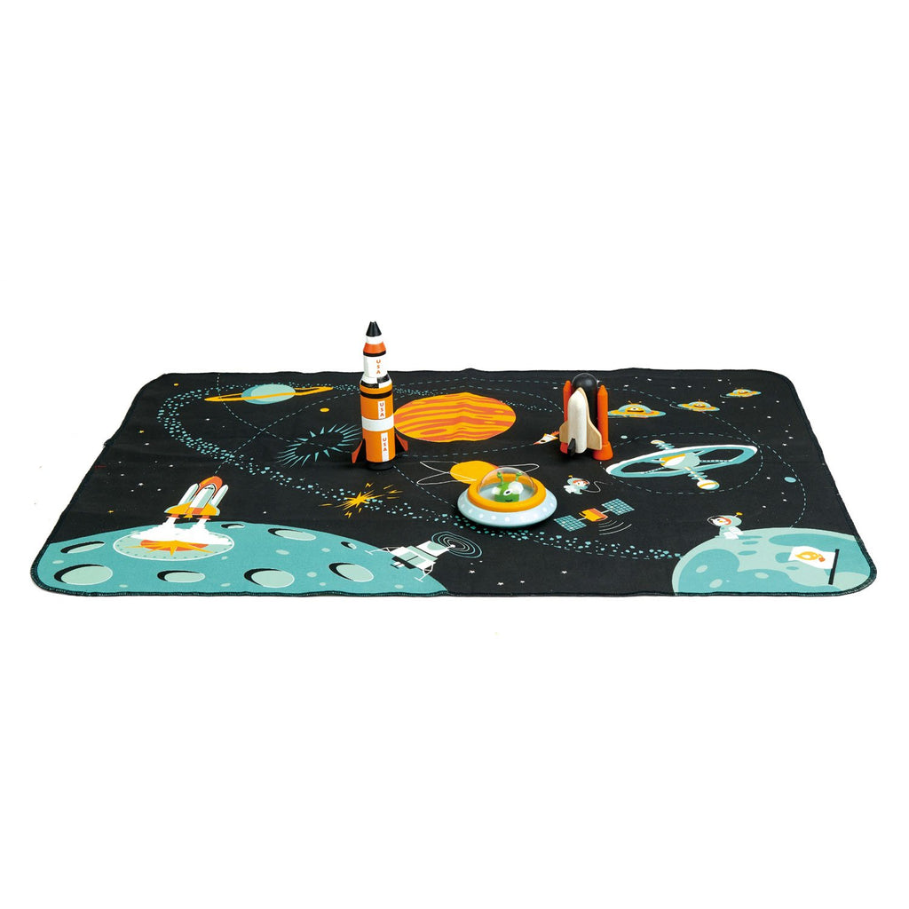 Tender Leaf Toys wooden space theme play mat. Includes wooden accessorie