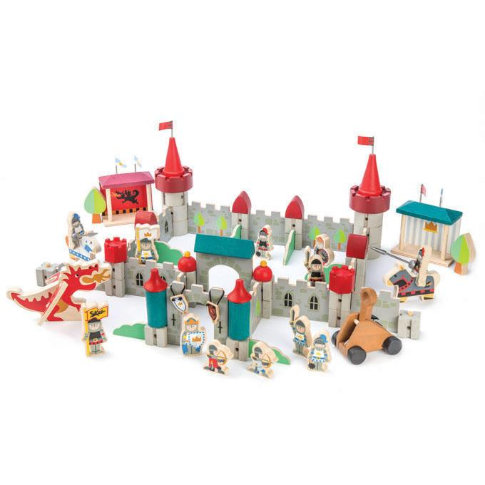 Tender Leaf Toys wooden castle building collection of 96 modular components