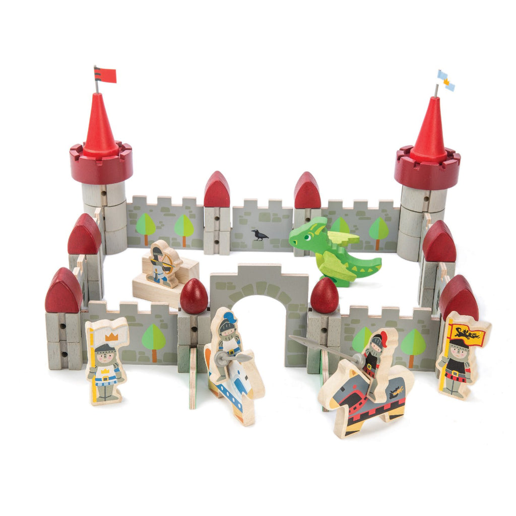 Tender Leaf Toys wooden modular castle set with 61 pieces