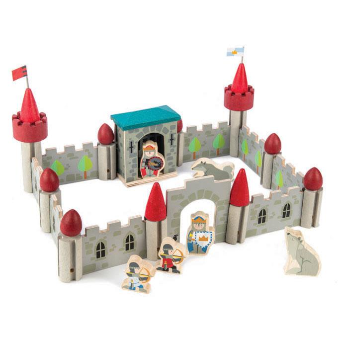 Tender Leaf Toys wooden castle building set with 40 modular pieces