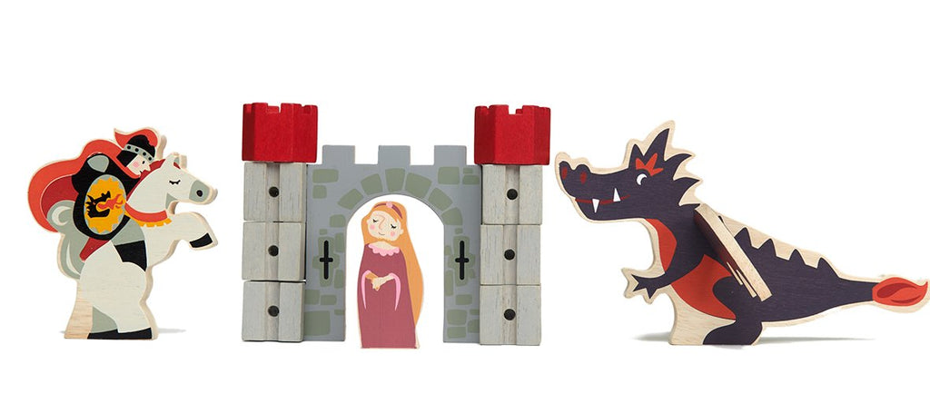 Tender Leaf Toys wooden castle add on set with dragon and princess characters
