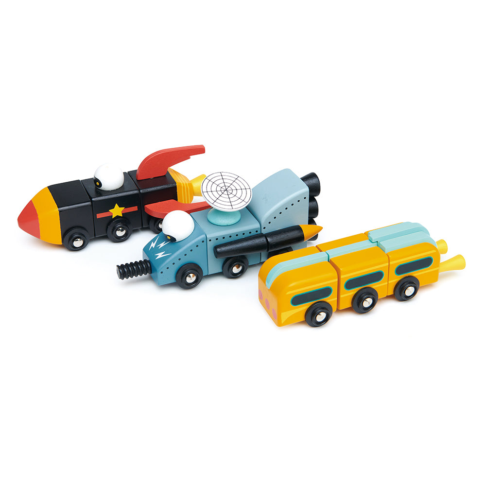 Tender Leaf wooden space race vehicles that can be mixed and matched to create your own rocket car toys. Play with friends and create your own toy world