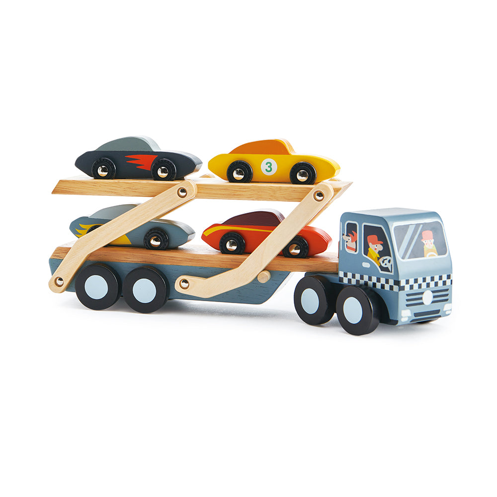 Tender Leaf Toys wooden car transporter toy set for children with lorry and 4 cool colourful cars