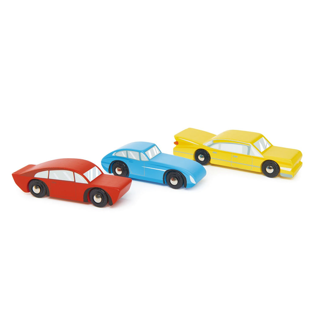 Tender Leaf Toys wooden retro toy car set in contemporary primary colours