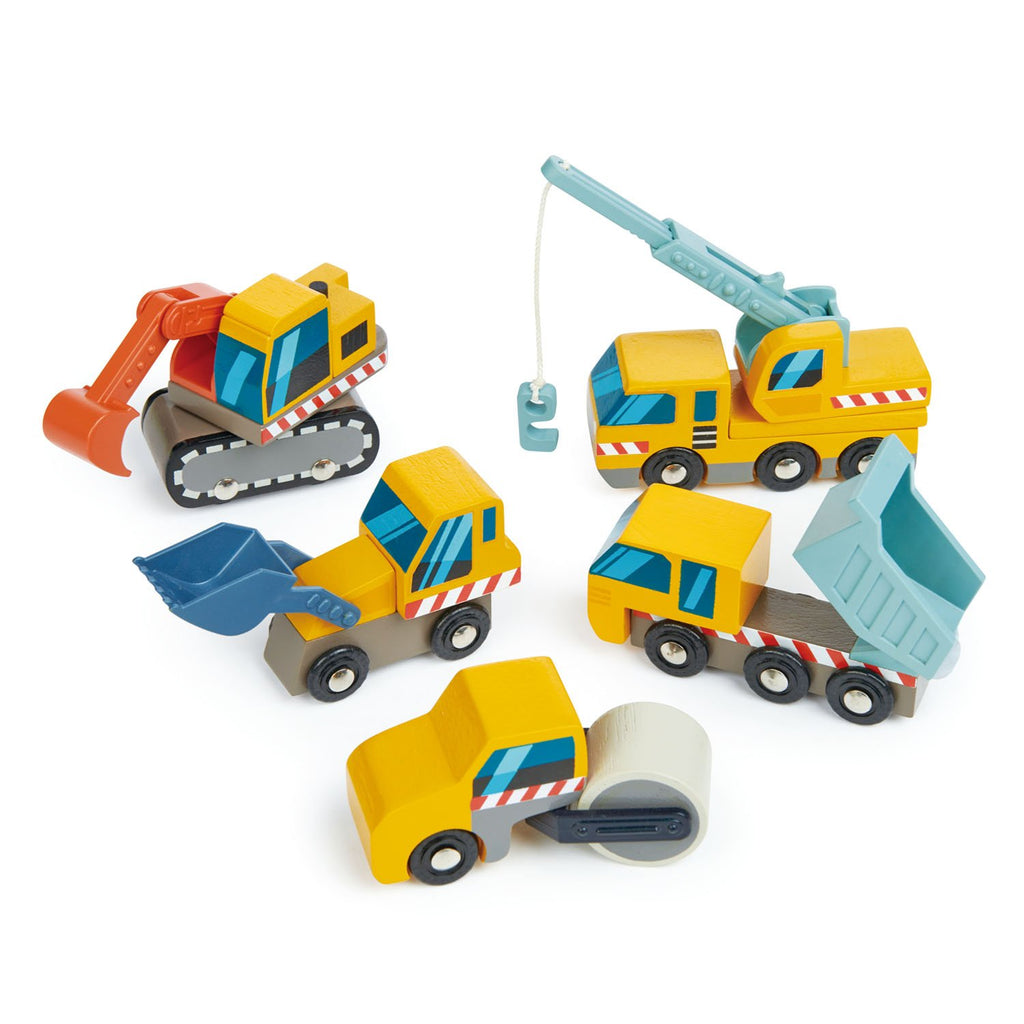 Tender Leaf Toys wooden vehicles construction site, including dump truck, front loader, digger, crane truck, road roller. All with moving parts