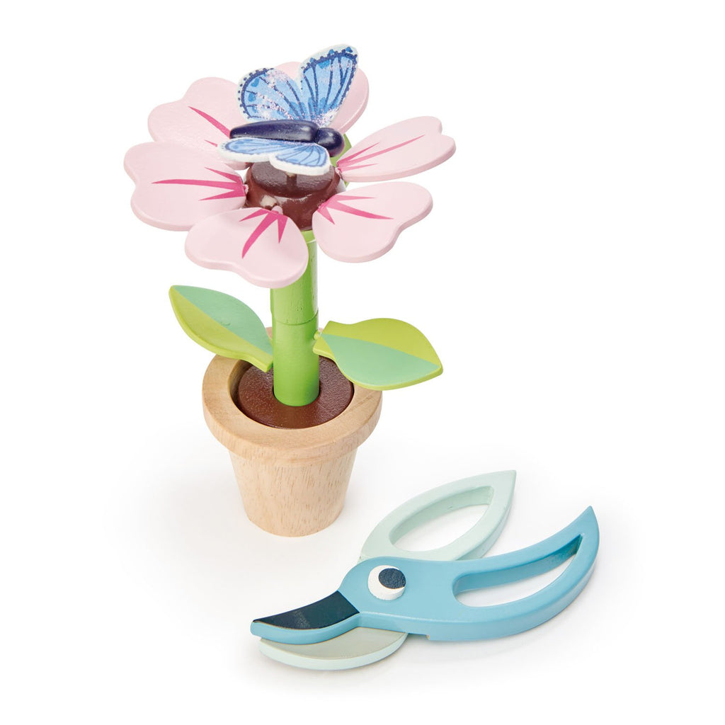 Tender Leaf wooden toy flower pot with butterfly