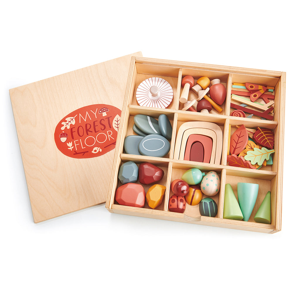 tender leaf wooden toy plastic free open ended play with items from the forest floor. comes with a box with compartments with lots of colourful and cool accessories including play pebbles, rainbow, stones, leaves, trees, bugs and insects for ultimate montessori play time. play with friends and pack away neatly in the nursery