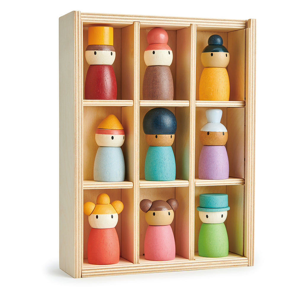 tender leaf wood toys completely plastic free and sustainable happy people hotel is an educational open ended play montessori shelf with 9 people from different ethnicities and ages. Teaches inclusivity to children and learning social skills through play.