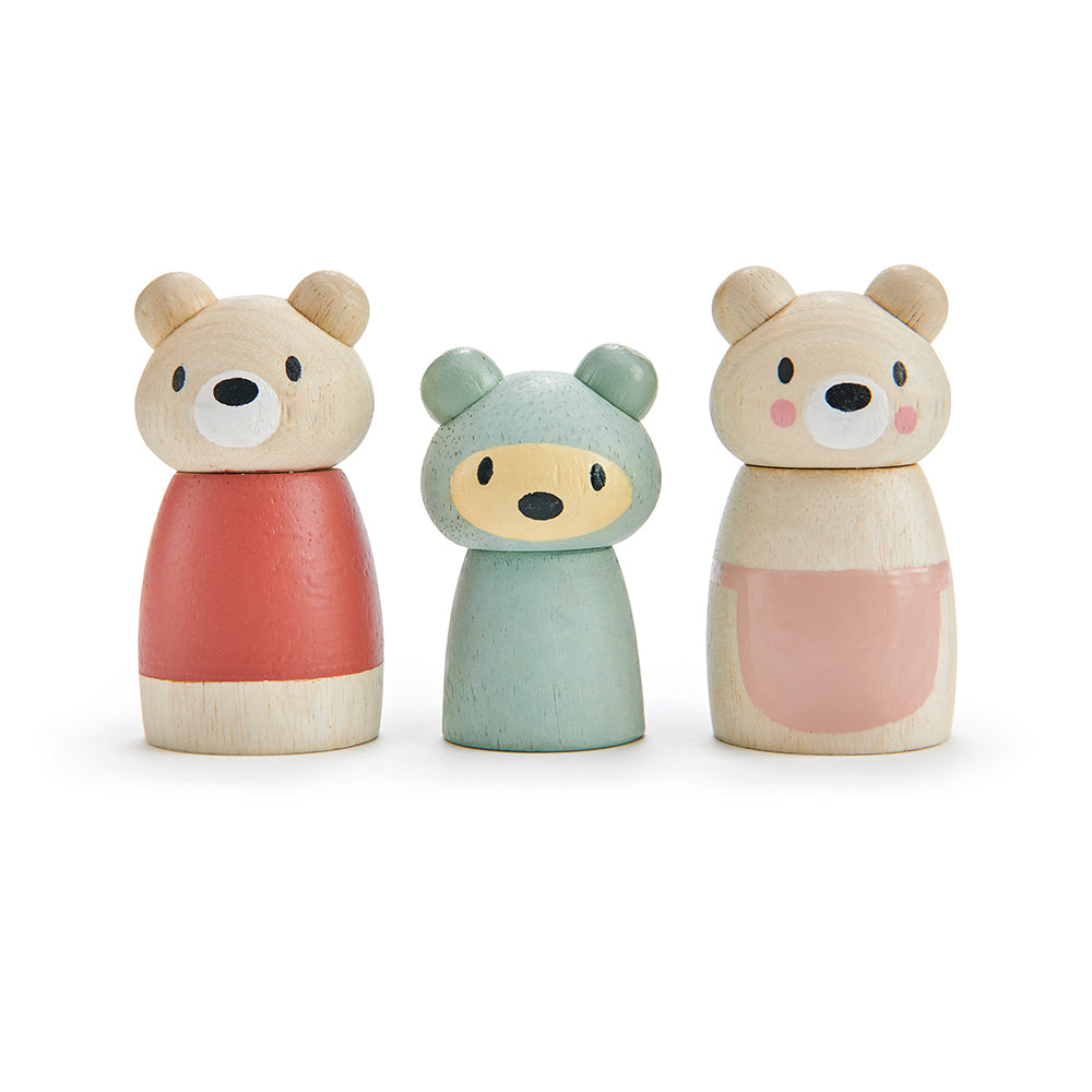 Tenderleaf solid wood bear cub doll family that are completely plastic free, with mummy daddy and baby all with their character names printed underneath. Open ended play and dolls world accessories and a perfect gift idea for children.