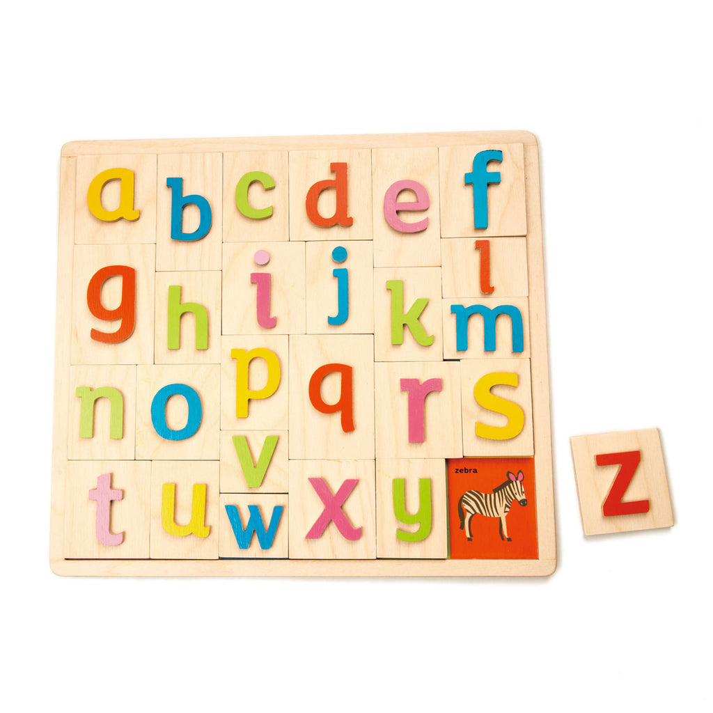 Tenderleaf wooden toys letter educational puzzle and game toy