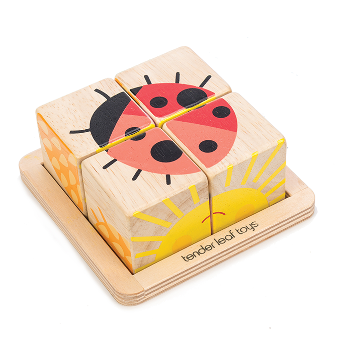 Tender Leaf wooden Baby Blocks for toddlers with ladybug and sunshine illustrations