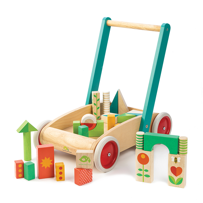 Tender Leaf Toys sustainable wooden baby walker with blocks for toddlers and children