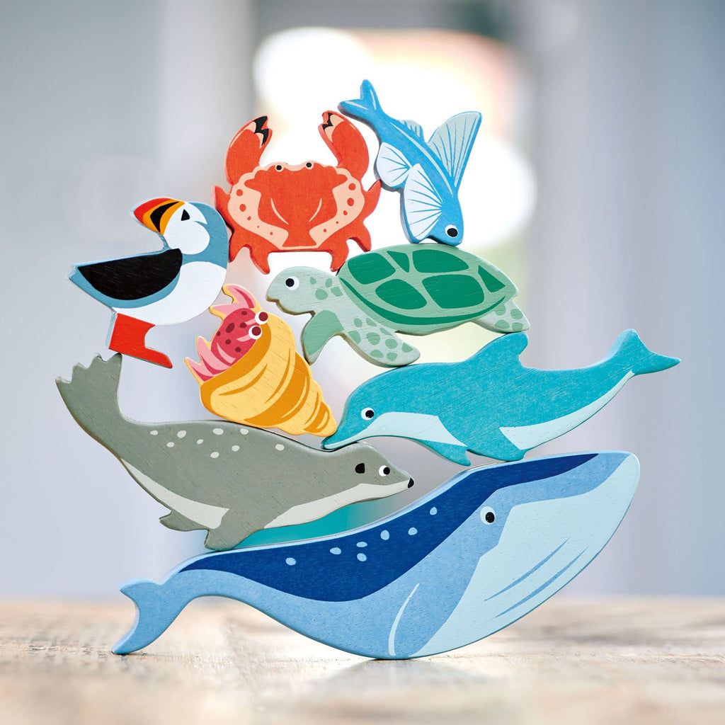 Tender leaf wooden toys animals and shelf set coastal creatures sea life