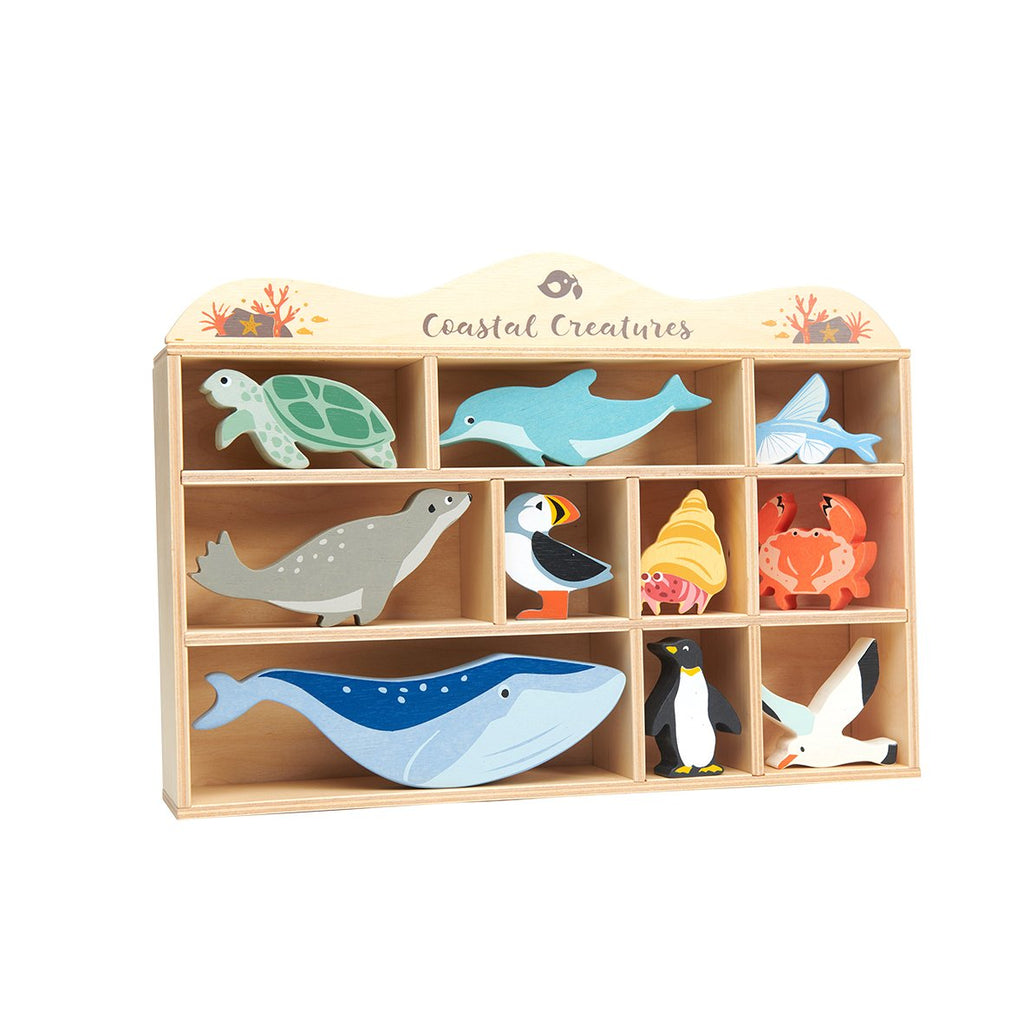 Tenderleaf wooden toys animals and shelf set coastal creatures sea life