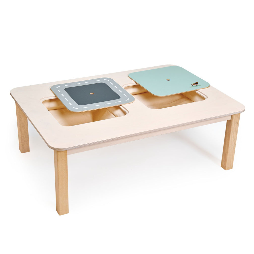 Tender Leaf Toys wooden large wooden play table for children made from plywood with 2 storage areas, made from strong canvas fabric