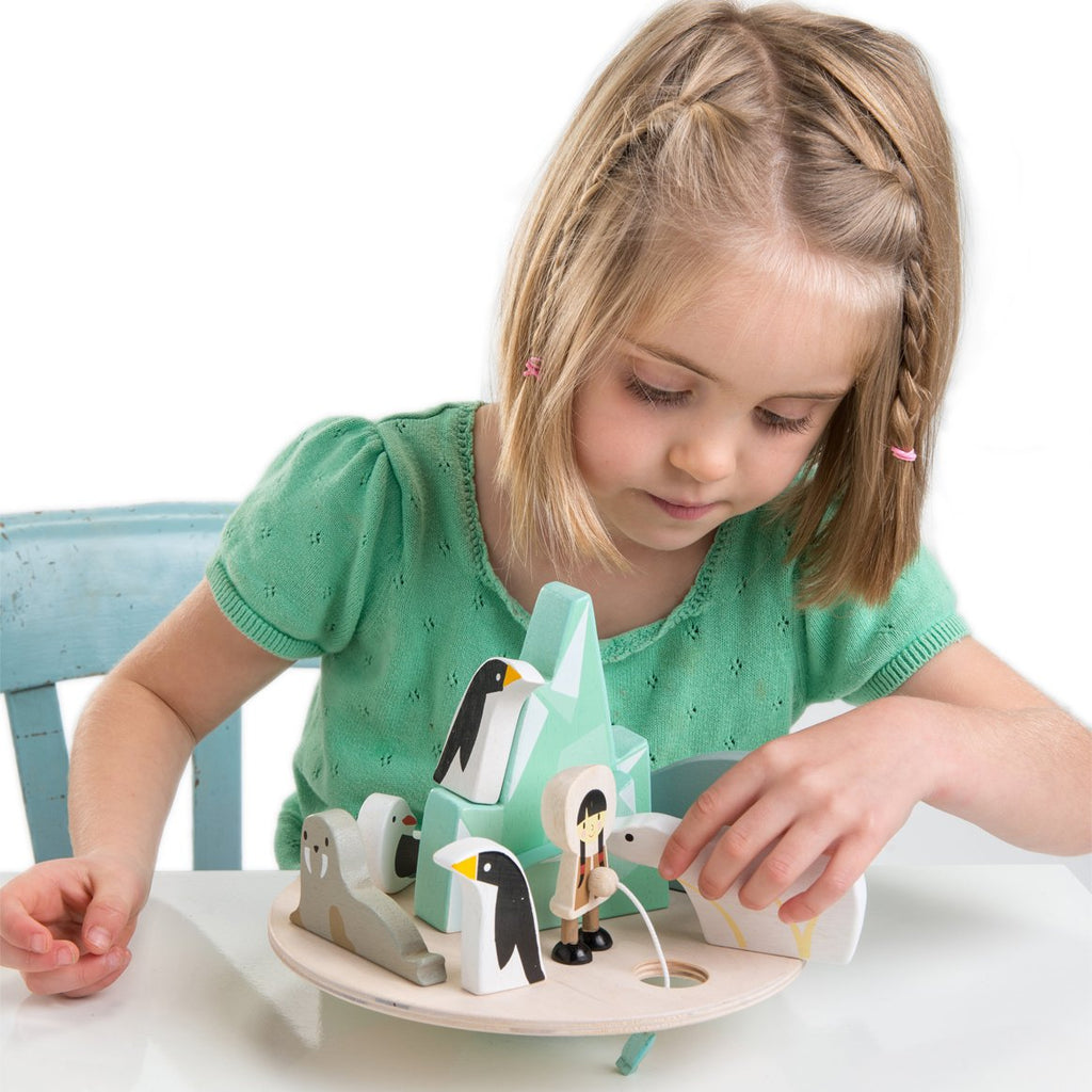 Tenderleaf wooden balancing arctic toy with penguins, a whale and a polar bear