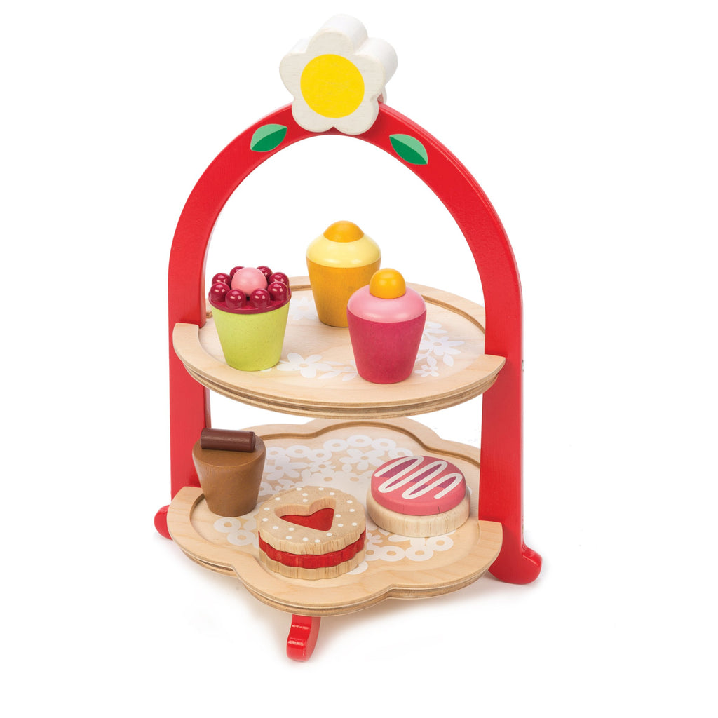 Tenderleaf wooden toys tea cake stand in red with biscuits and treats, a perfect gift for children