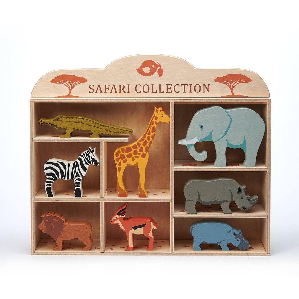 Tender Leaf wooden toys animal and shelf set with 8 animals