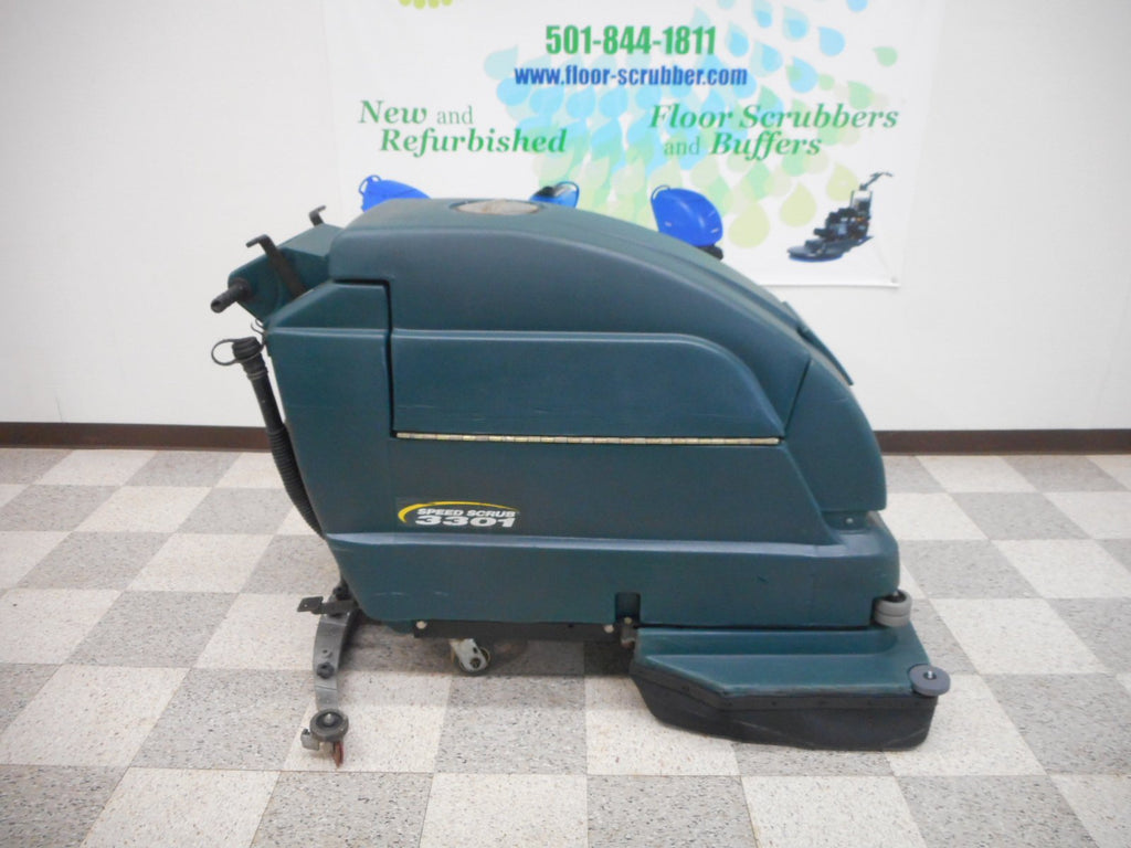Right side view of a nobles tennant 3301 battery powered floor scrubber.  Used refurbished floor scrubber