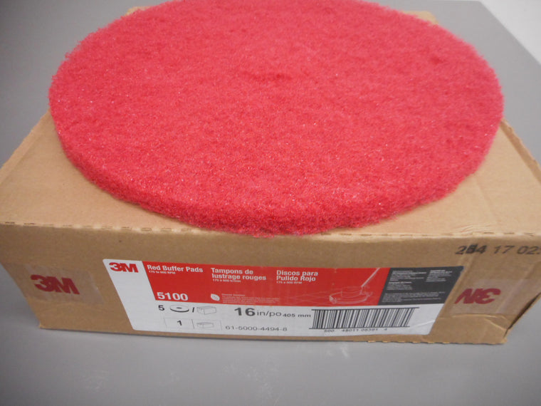case of 5 red cleaning pads for floor scrubber