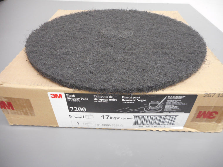 "17"" Black Stripping Pads Case of 5 3M 7200 for Floor Scrubber"