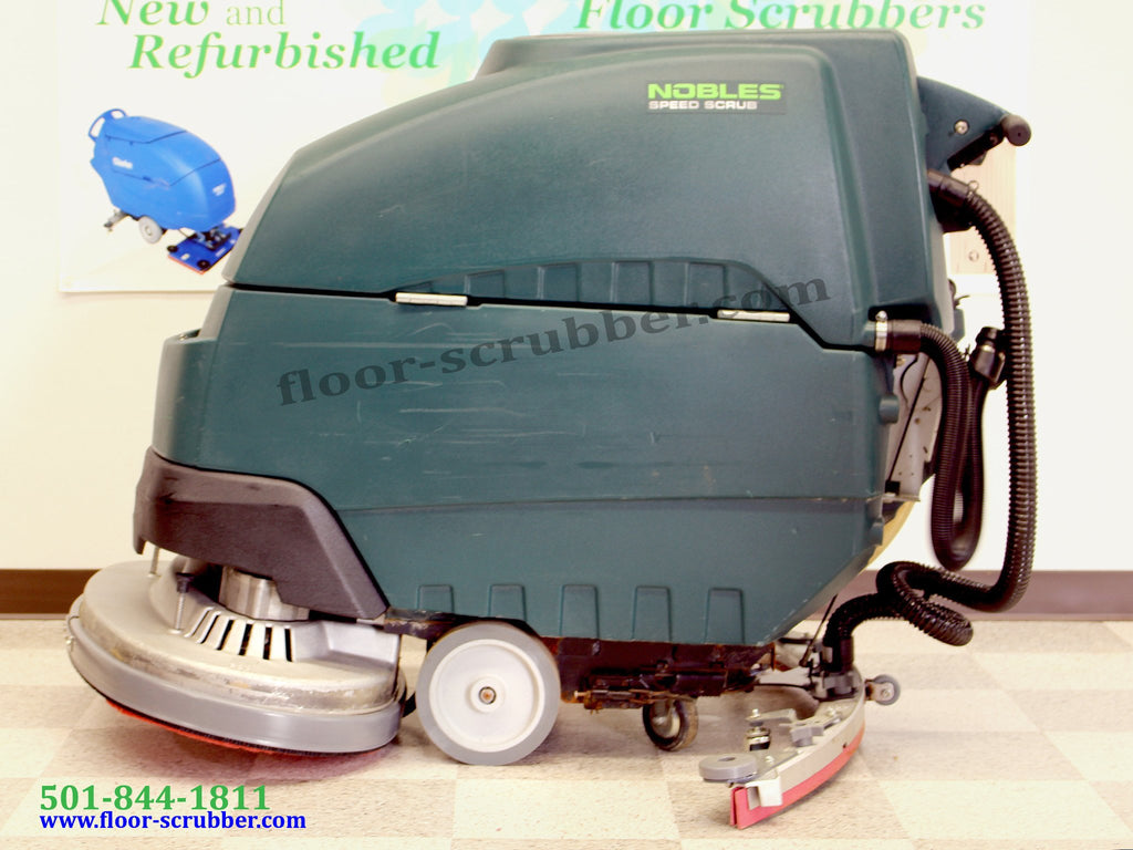 Left side view of a really nice looking used refurbished nobles ss5 floor scrubber.