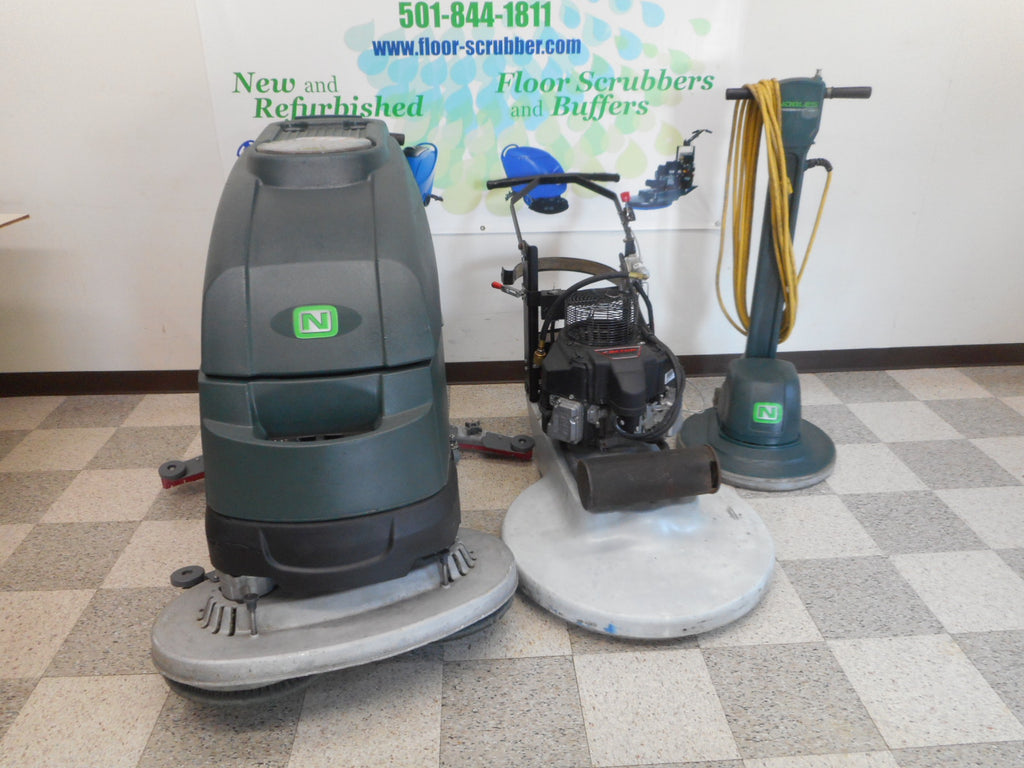 Used Tennant Nobles SS5 floor scrubber and betco propane buffer