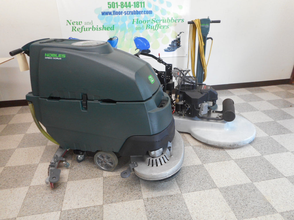 "Floor Cleaning Equipment Package  Nobles SS5 32"" Floor Scrubber, Betco Propane Buffer, Nobles slow speed"