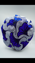 Load image into Gallery viewer, Kente Blue Flower Tie  Bonnet