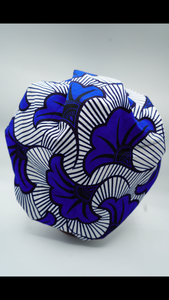 Kente Blue Flower Tie  Bonnet