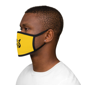 """It's all good"" Yellow and Black Mixed-Fabric Face Mask"