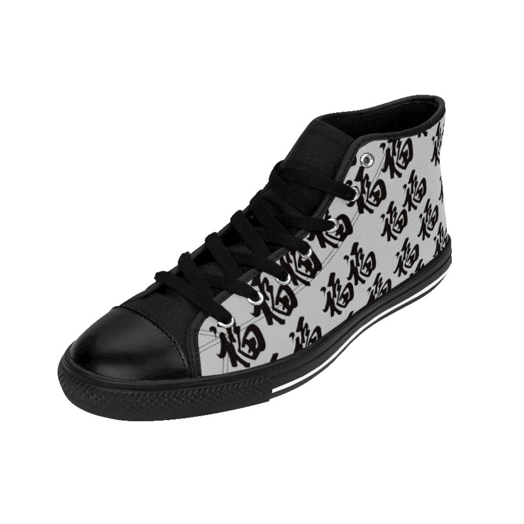Women's Black On Light Grey High-top Sneakers Multi Fu (Many Blessings)