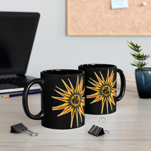 11 oz Chinese Calligraphy Coffee Mug with Sunflower