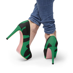 Women's Green Platform Heels w/ Black FU