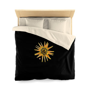 Black Chinese Calligraphy Microfiber Duvet Cover with Sunflower