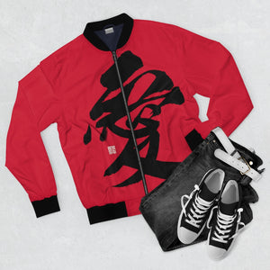Men's Red Bomber Jacket - Love