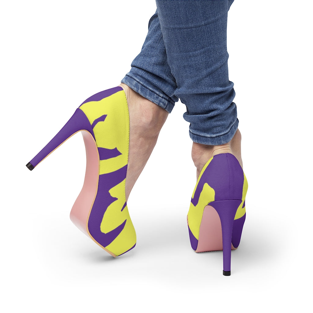 Women's Purple Platform Heels w/ Yellow FU
