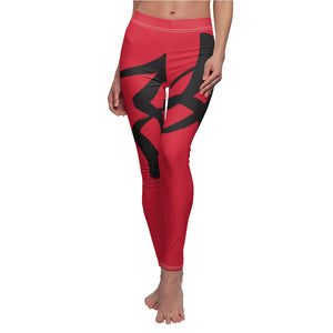 Red Women's Cut & Sew Casual Leggings